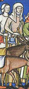 Frauen in bäuerlicher und Alltagskleidung in der Maciejowski-Bibel; Frankreich um 1250