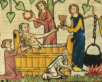 Dienerinnen bzw. Herrin(? - mit Pokal) Codex Manesse, 13. Jhd. Tf. 20 Herr Jakob von Warte