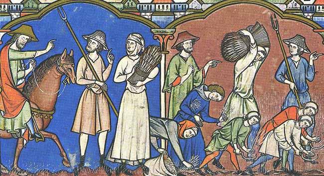 Darstellung eines Adligen (li. auf dem Pferd reitend; re. in grünem Surcot) bei der Beaufsichtigung der Feldarbeit Maciejwski-Bibel um 1250