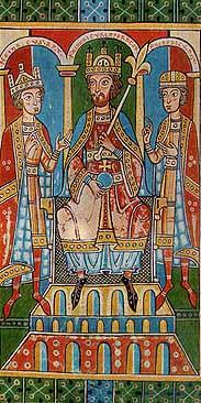 Friedrich Barbarossa mit seinen Söhnen in der Welfenchronik um 1180 - Cotte mit weiten Ärmeln