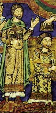Evangeliar Heinrichs des Löwen um 1185 - reich verzierte (bestickte?) Cotte mit Borten an Oberarm, Handgelenk und unterem Saum