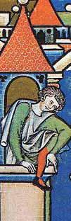 Maciejowski-Bibel - ca. 1250 Surcot mit langen nur an den Schultern angenähten Ärmeln