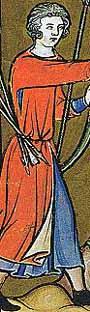 Maciejowski-Bibel - ca. 1250 Surcotmit deutlich zu erkennen der Schlitz unter dem Arm
