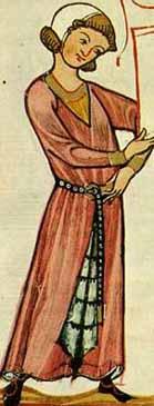 Codex Manesse - 13. Jhd.- fehpelzgefütterte Surcot mit Reitschlitzlangärmlig,gegürtet