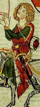 Codex Manesse - 13. Jhd.- fehpelzgefütterte Surcot mit Reitschlitzohne Ärmel mit Borte