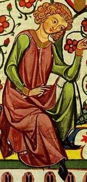 Codex Manesse - 13. Jhd.- fehpelzgefütterte Surcot mit Reitschlitzohne Ärmelmit Knopfverschlüssen