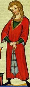 Codex Manesse - 13. Jhd.- fehpelzgefütterte Surcot mit Reitschlitzlangärmligohne Gürtel