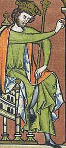Maciejowski Bibel ca. 1250 deutlich erkennbarer Schlitz zwischen den überschlagenen Beinen