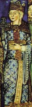 Evangeliar Heinrichs des Löwen - ca. 1188 Dame im Mantel mit mittigem Fibelverschluss