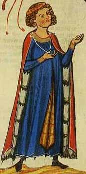 Darstellung des Kürenbergers im Codex Manesse (13. Jhd.) - Mantel mit Tasselscheiben und -band