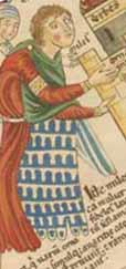 Hortus Deliciarum ca. 1180 - stark stilisierte Darstellung einer Fehpelzfütterung