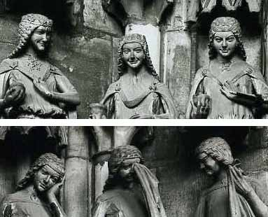 Die klugen und törichten Jungfrauen an der Paradiespforte des Magdeburger Domes, um 1250
