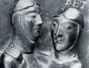 Bronzetür von Nowgorod Maria mit Elisabeth, um 1150