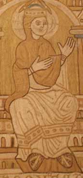 reich verzierte Damenschuhe auf einem gesticktem Wandteppich Niedersachsen um 1167