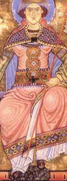 bestickte Schuhe der Ecclesia Evangeliarbuch um 1200