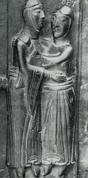 Maria und Elisabeth auf der Bronzetür von Nowgorod einfache Streifenverzierung um 1152