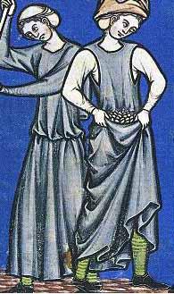 eine der seltenen Abbildungen bei der die Strümpfe oder Beinlinge einer Frau zu sehen sind Maciejowski-Bibel um 1250