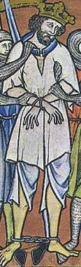 Maciejowski Bibel um 1250 König in Unterhemd