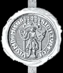 Ältestes Meißner Stadtwappen mit den Wappen sowohl des Mark- als auch des Burggrafen